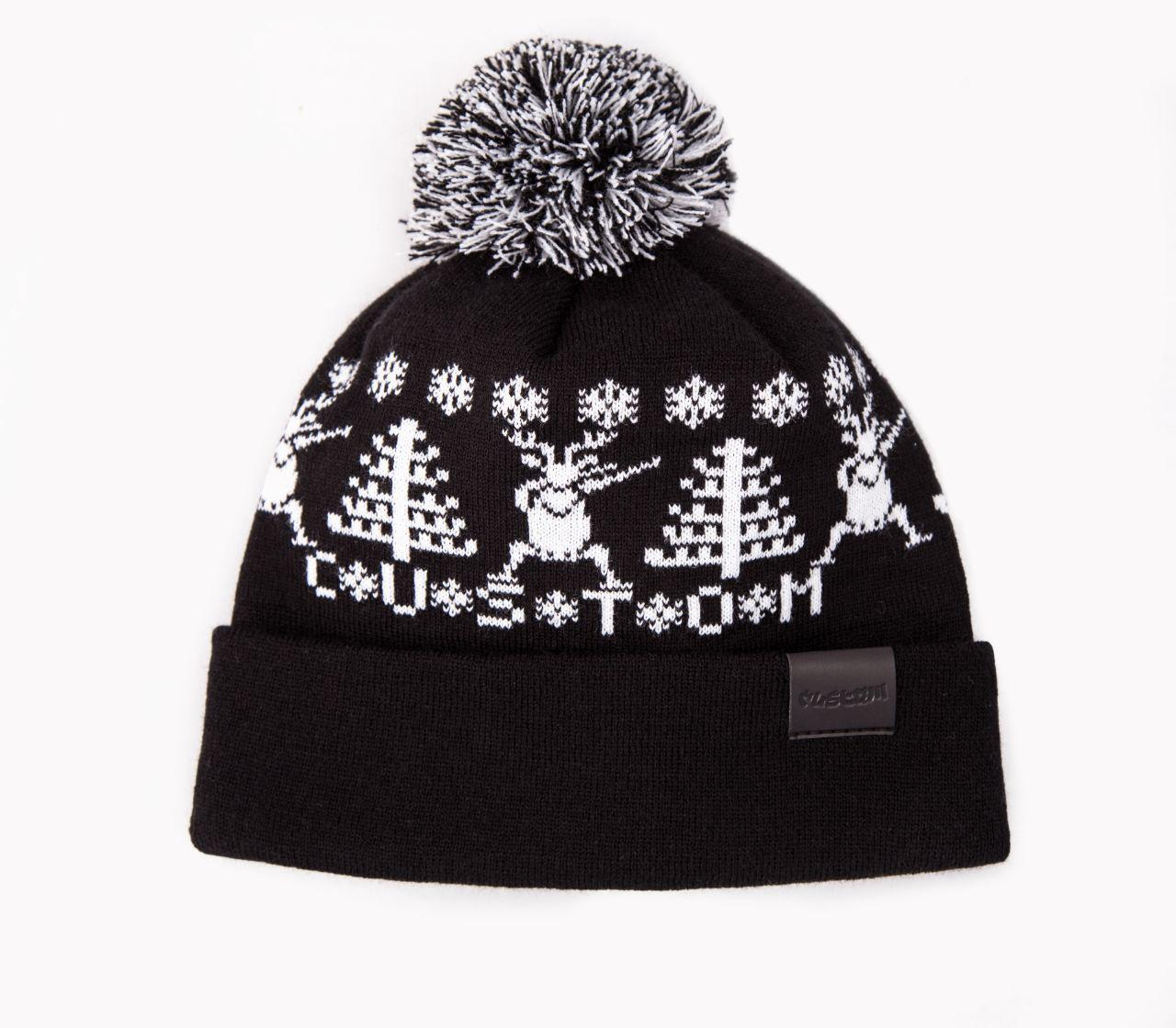 Шапка Custom Wear с бубоном Deer 2.0, black