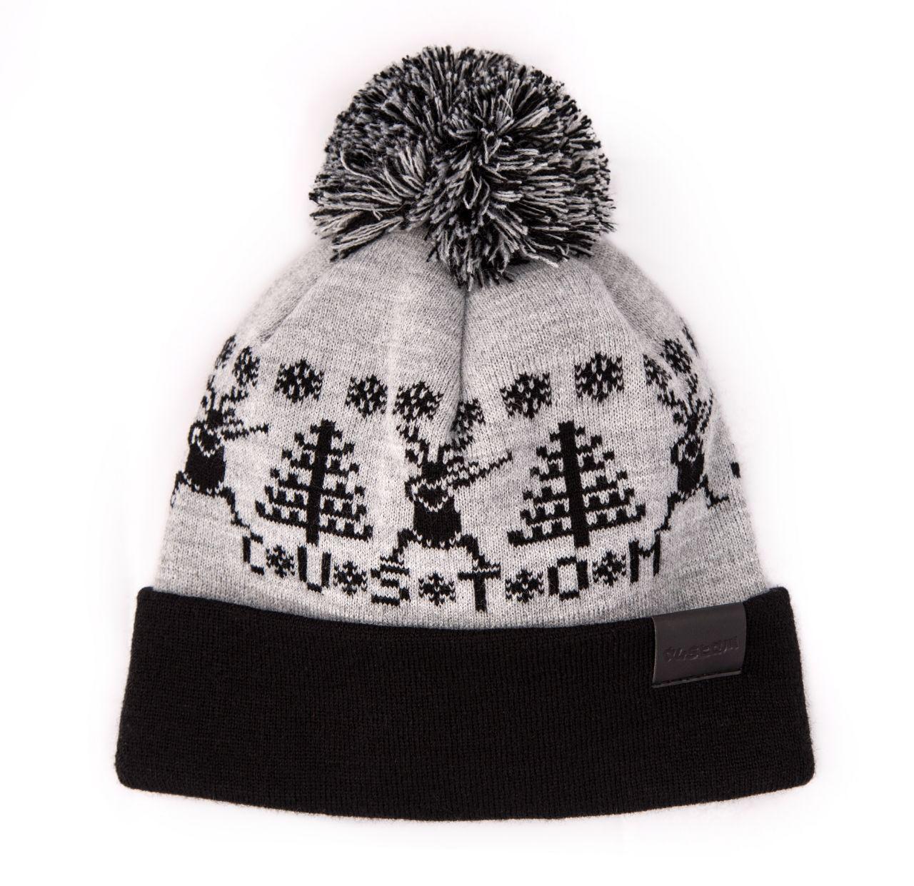Шапка Custom Wear с бубоном Deer 2.0, blk/grey