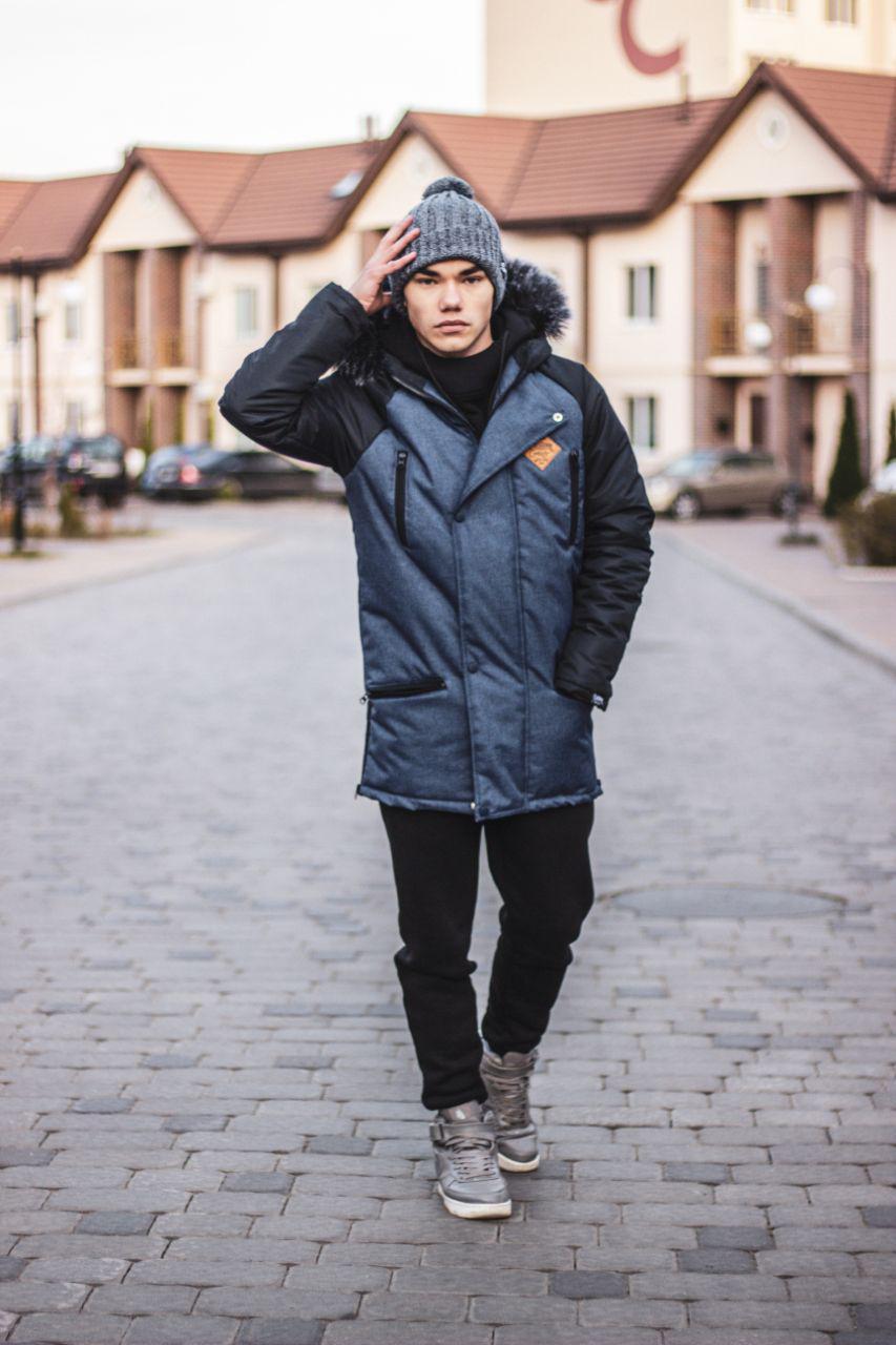 Парка Custom Wear Long Winter, Navy/Black Синяя Серая Custom Wear